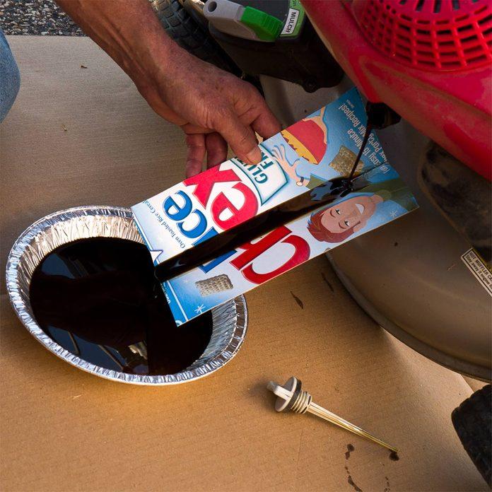 oil change trough for mower