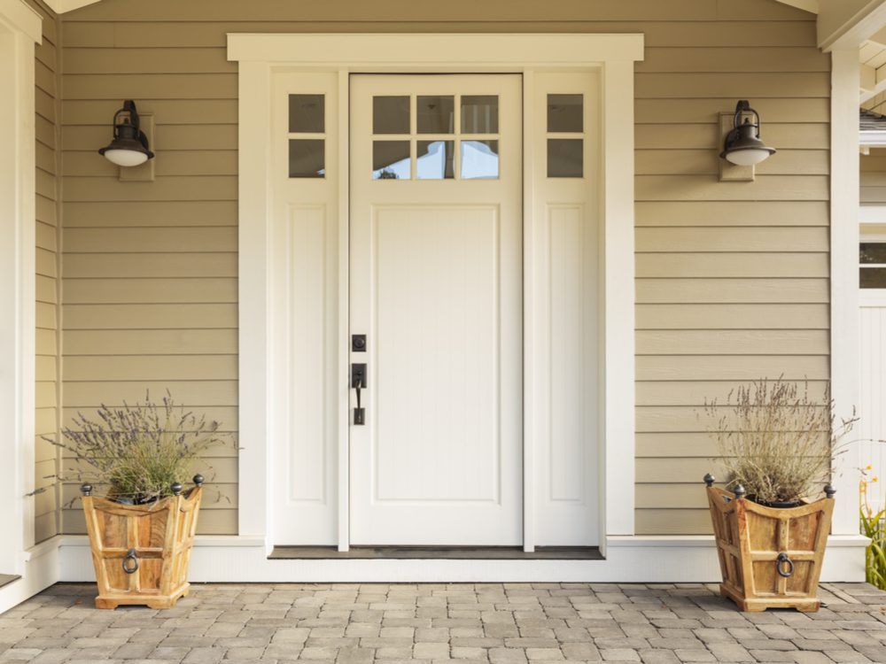 White front door of house