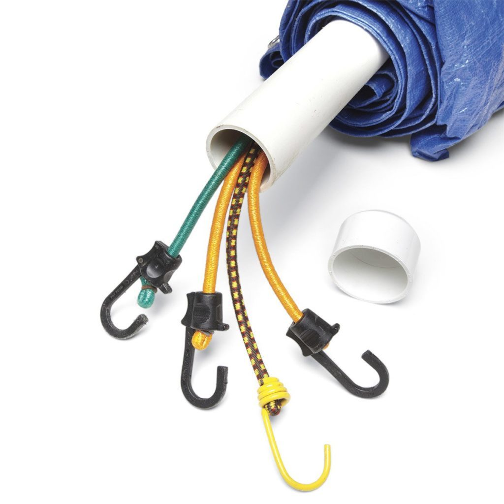 2-in-1 tarp storage bungee cord pvc pipe