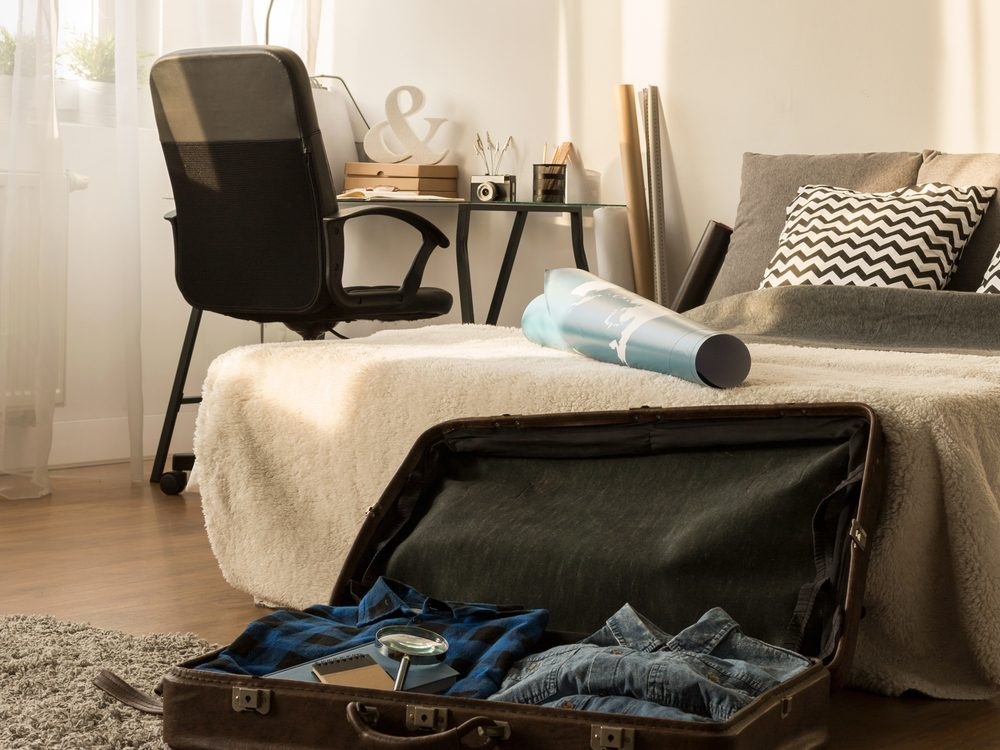 Luggage in bedroom
