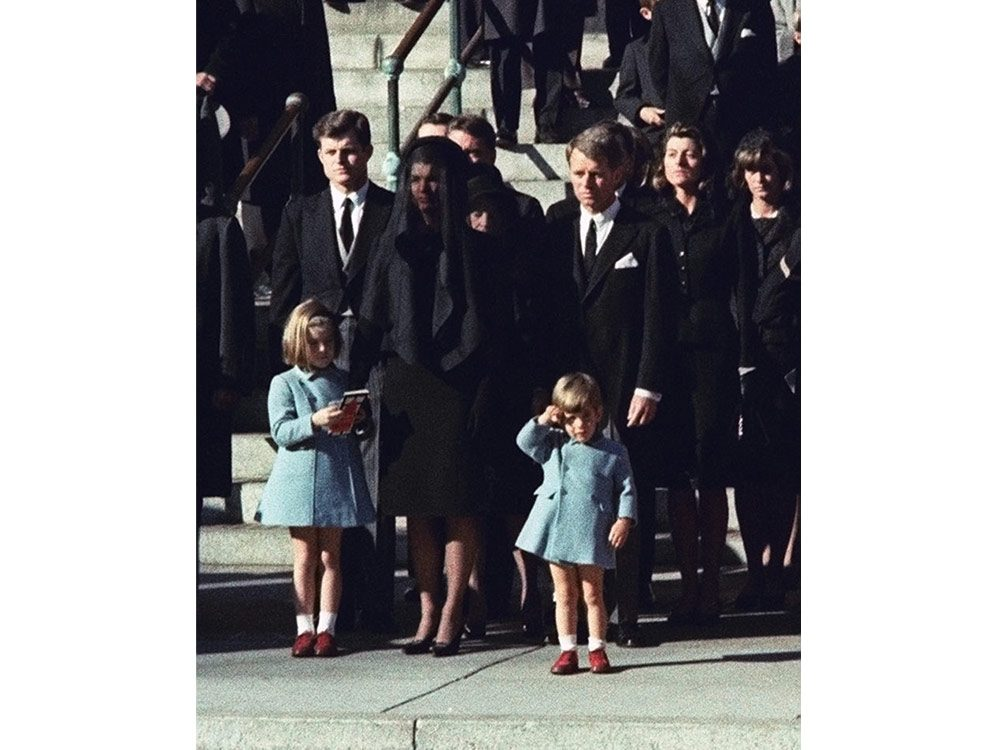 John F. Kennedy Jr. at the funeral of his father