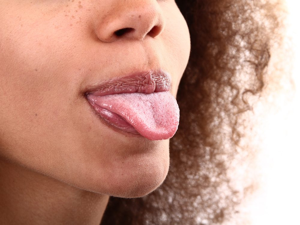 Woman sticking her tongue out