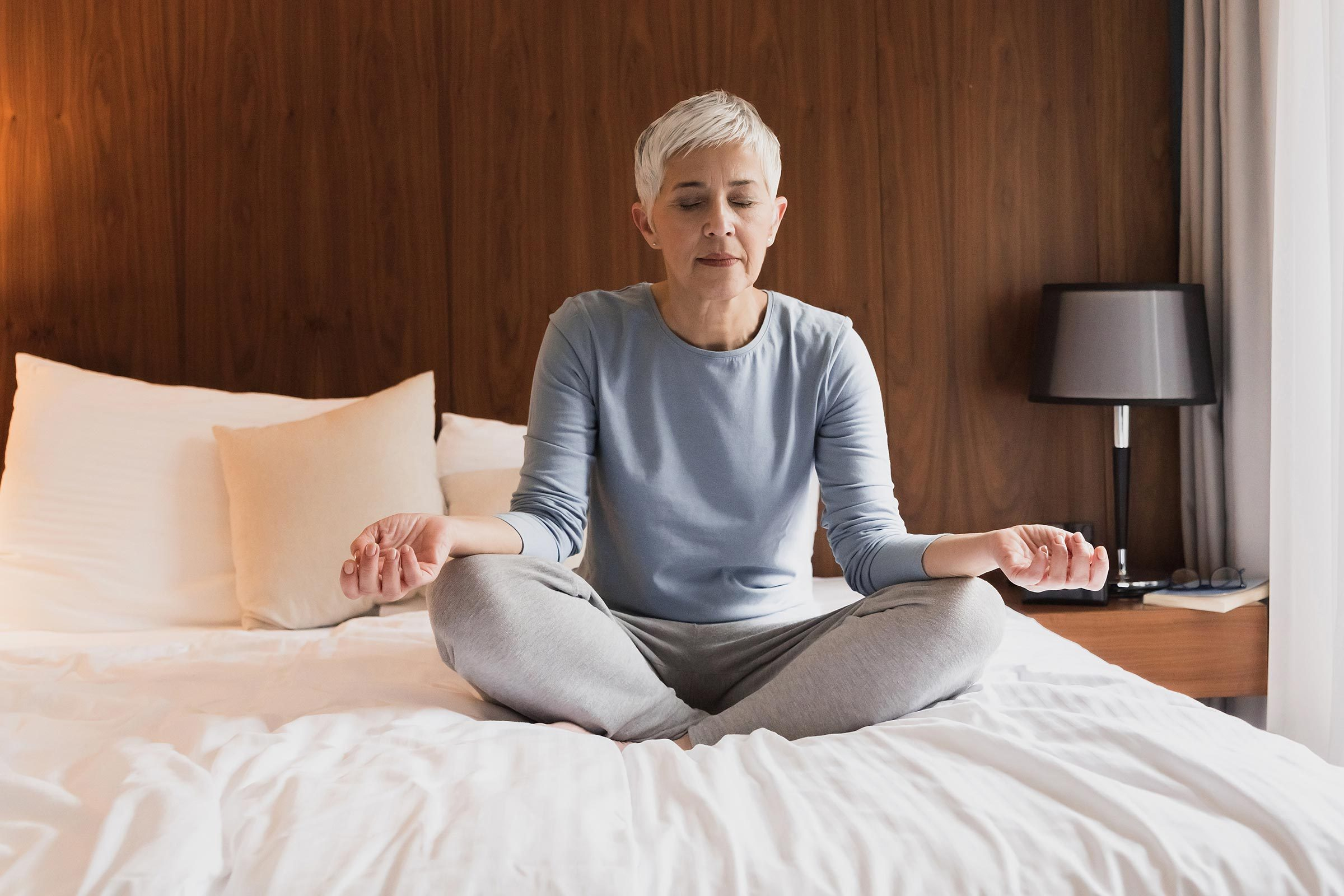 senior woman meditate