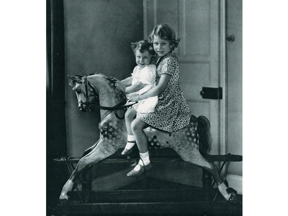 Queen Elizabeth and Princess Margaret as kids