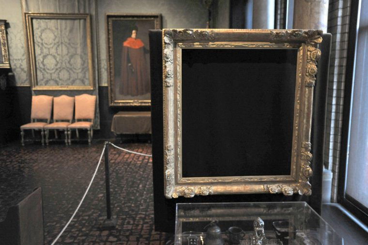 "Art Heist Mystery, Boston, USA Empty frames from which thieves took ""Storm on the Sea of Galilee,"" left background, by Rembrandt and ""The Concert,"" right foreground, by Vermeer, remain on display at the Isabella Stewart Gardner Museum in Boston. The museum says it's doing the best it can with tours and lectures to help visitors appreciate the 13 paintings that were stolen"