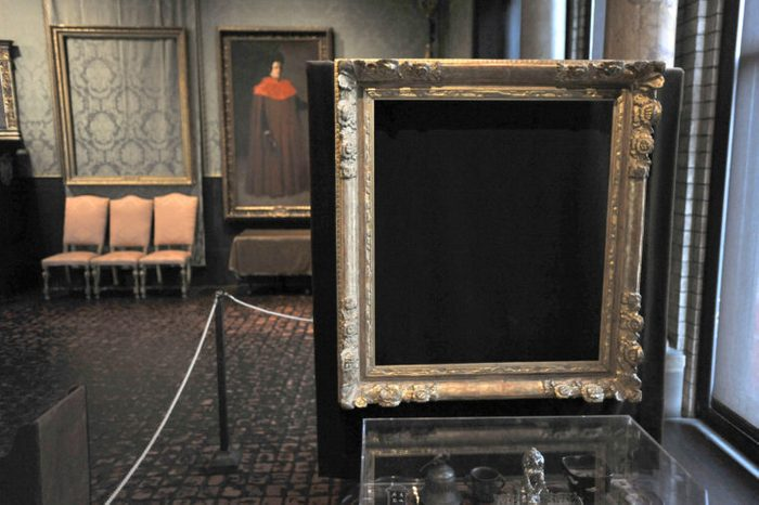 """Art Heist Mystery, Boston, USA Empty frames from which thieves took """"Storm on the Sea of Galilee,"""" left background, by Rembrandt and """"The Concert,"""" right foreground, by Vermeer, remain on display at the Isabella Stewart Gardner Museum in Boston. The museum says it's doing the best it can with tours and lectures to help visitors appreciate the 13 paintings that were stolen"""