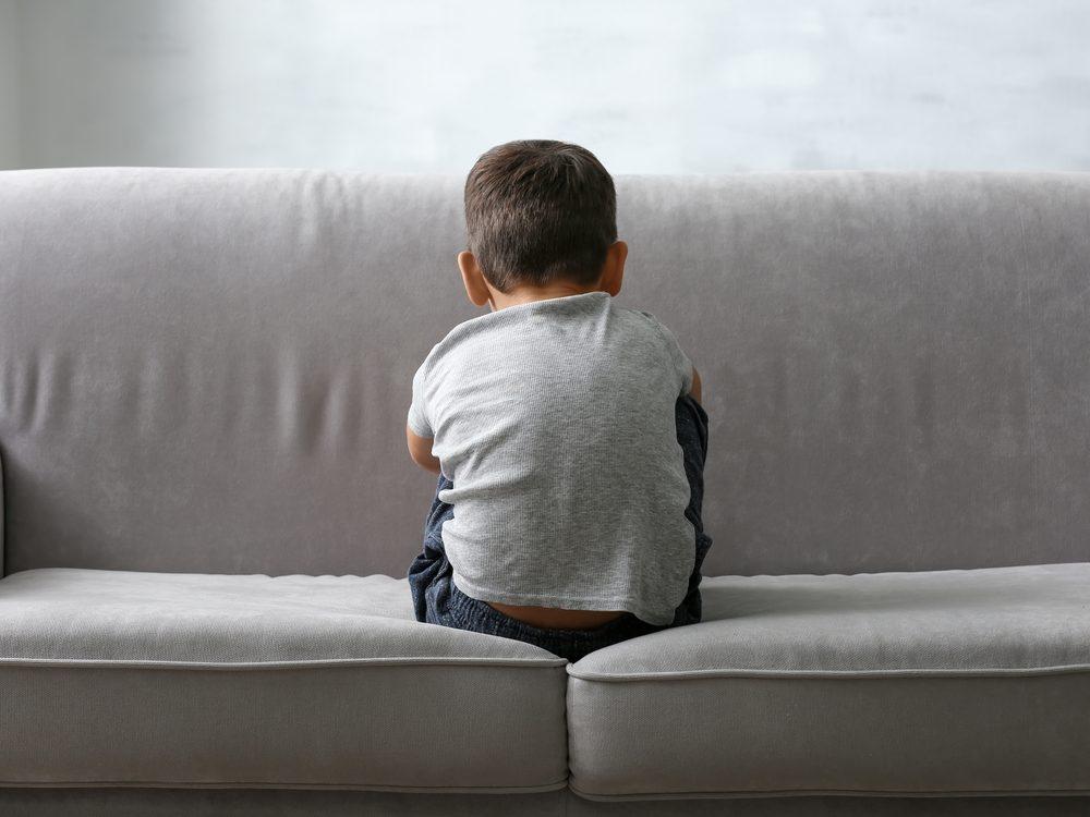 Boy with temper tantrum