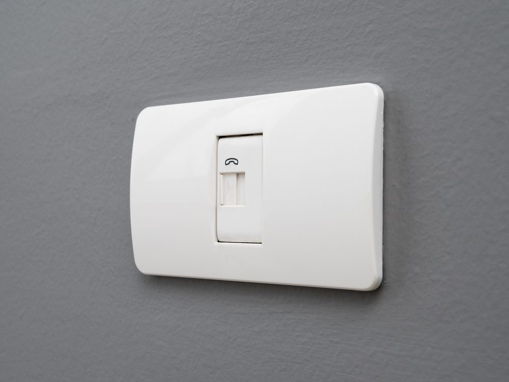 Wall-mounted phone jack