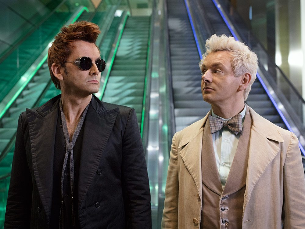 "David Tennant and Michael Sheen in ""Good Omens"""
