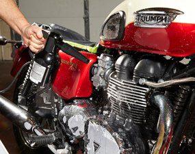 Blow dry motorcycle clean