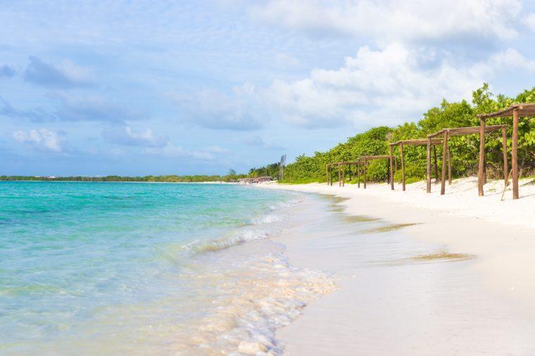 Beautiful beach at Coco Key (Cayo Coco) in Cuba, a natural landmark of the island