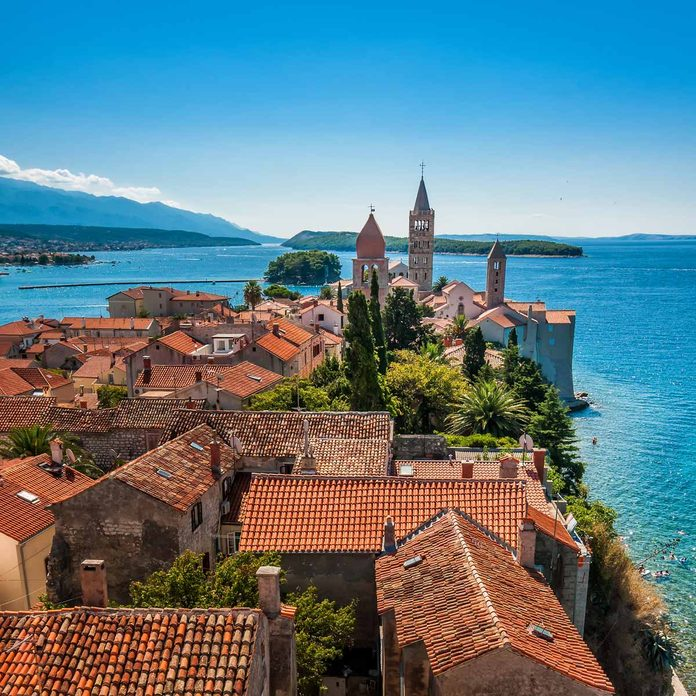 City of Rab, on an island Rab in Croatia, view at old city center