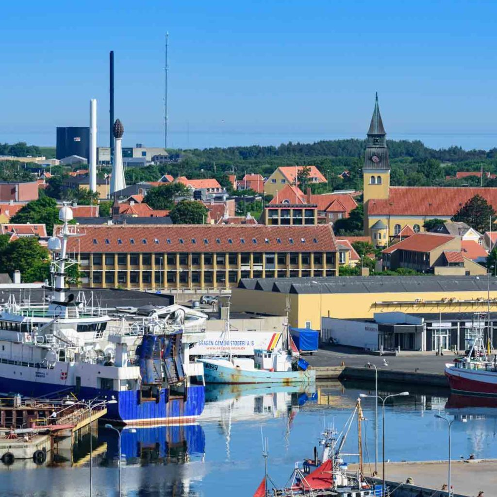 View over the town of Skagen, over the port, as seen from the cruise terminal
