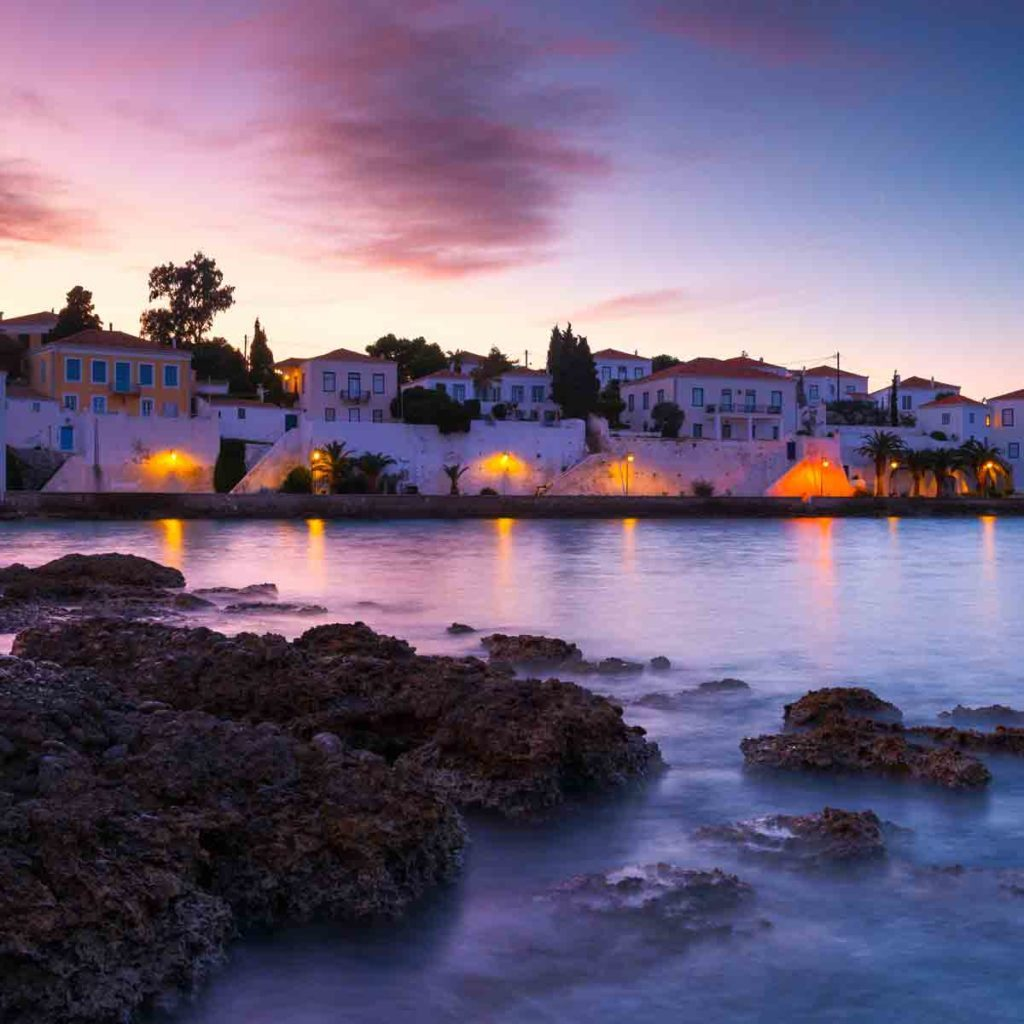 Evening view of Spetses village from the beach, Greece