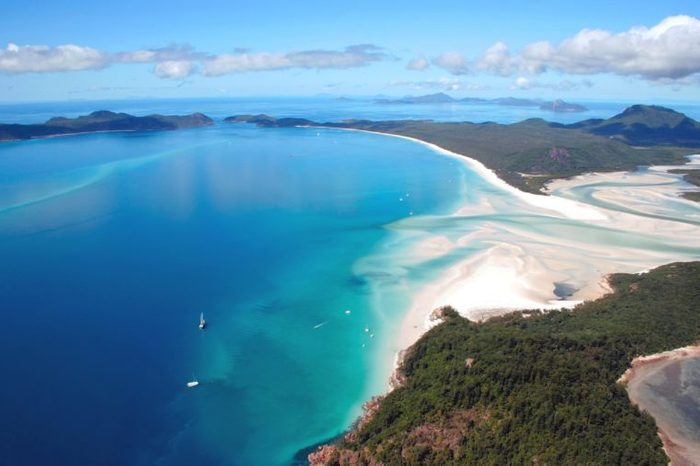 Whitehaven Island, famous for its white sand, is part of the Whitsunday Island group, Queensland, Australia