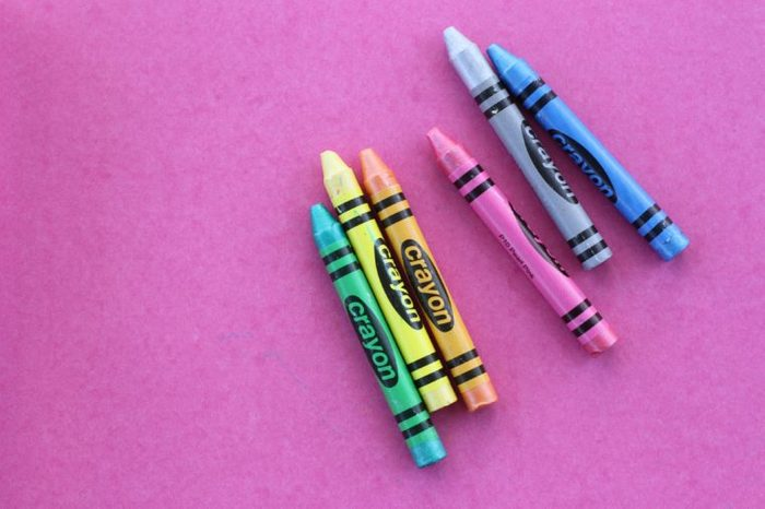 Colorful Crayon on Pink Background