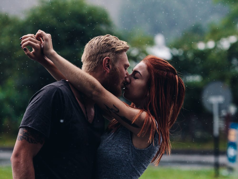 Attractive couple kissing