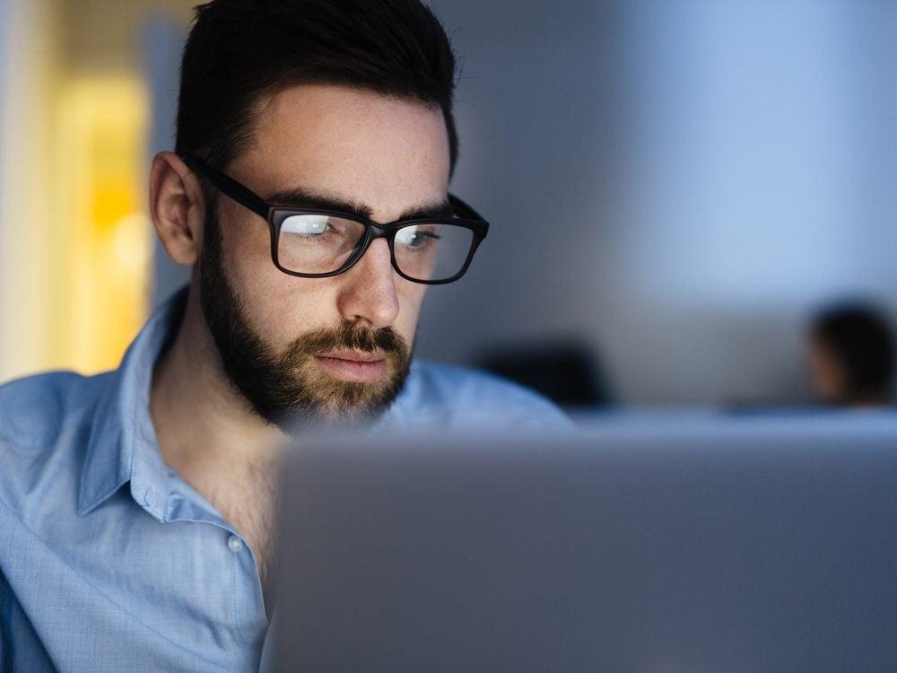 Man working on his laptop