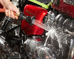 Fully rinse motorcycle