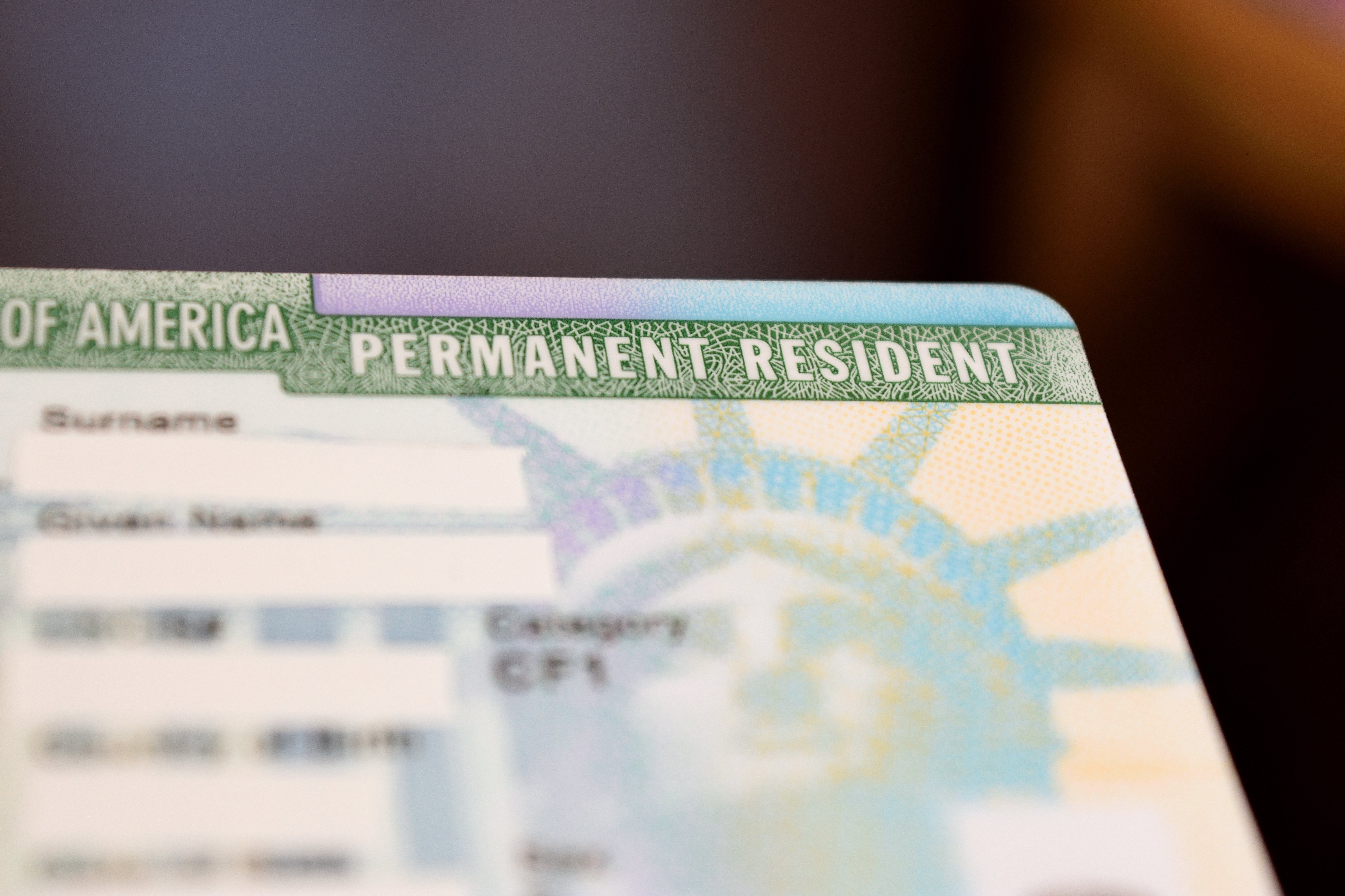 permanent resident card or green card
