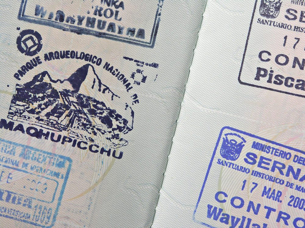Machu Picchu facts - passport stamp
