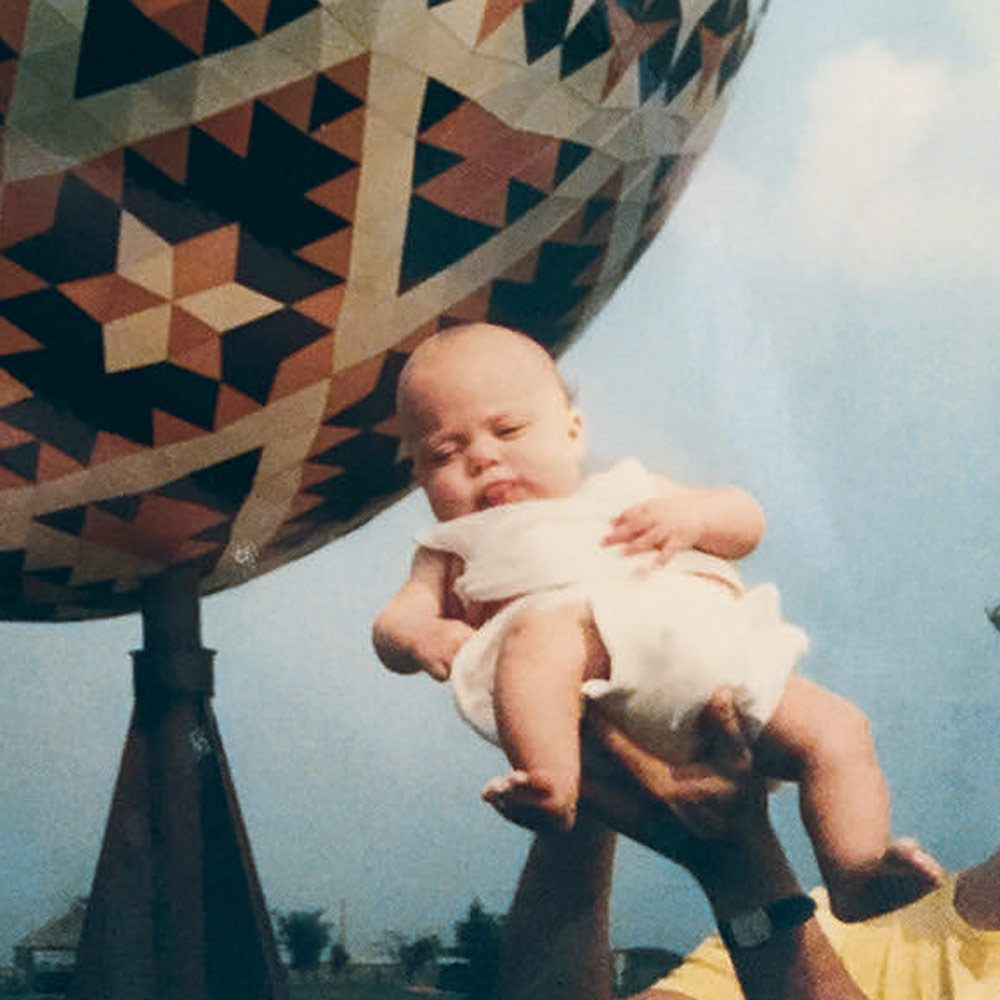Monica with the Vegreville Pysanka in 1989