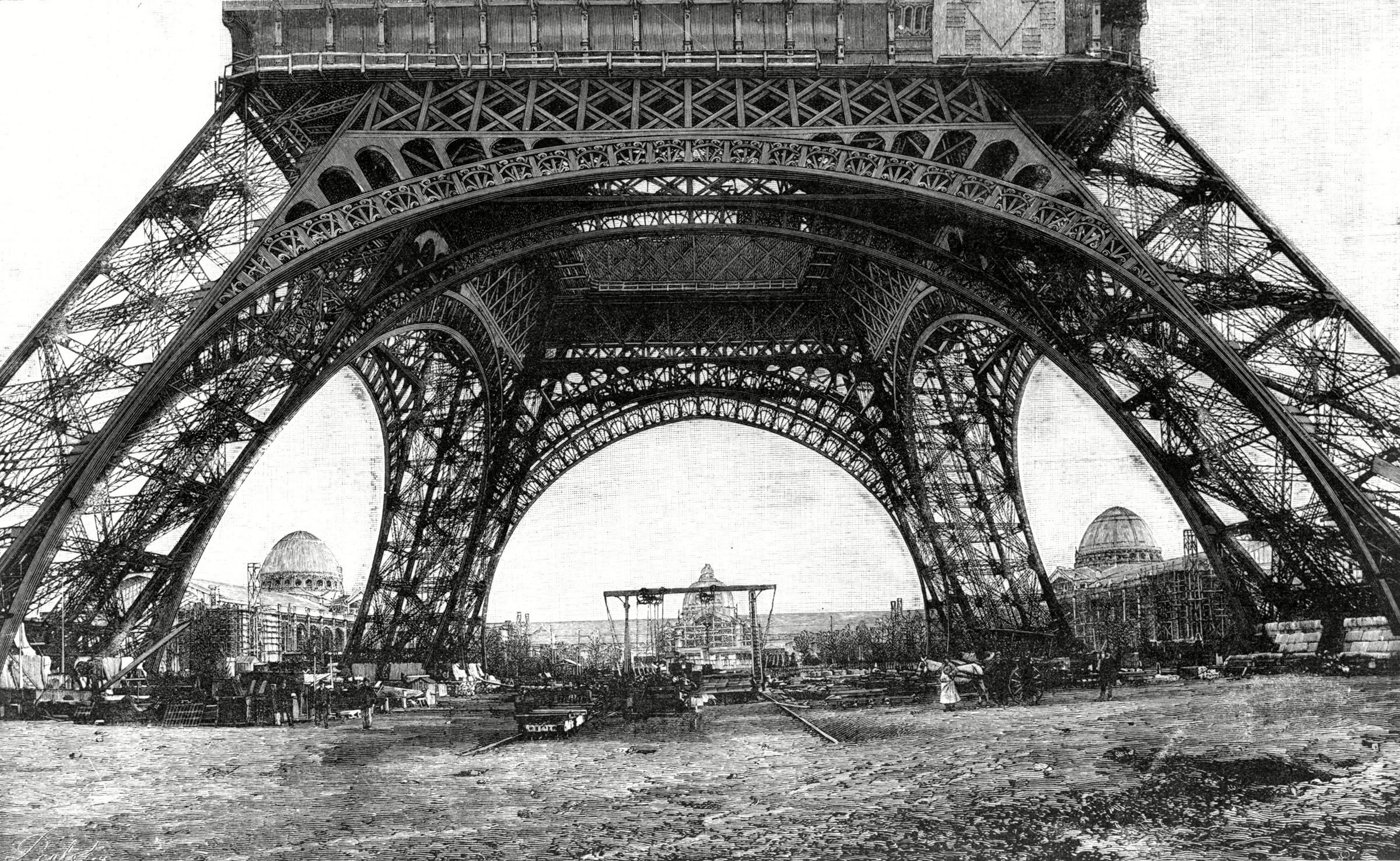 Paris, France - Tour Eiffel, Construction Work, 1889