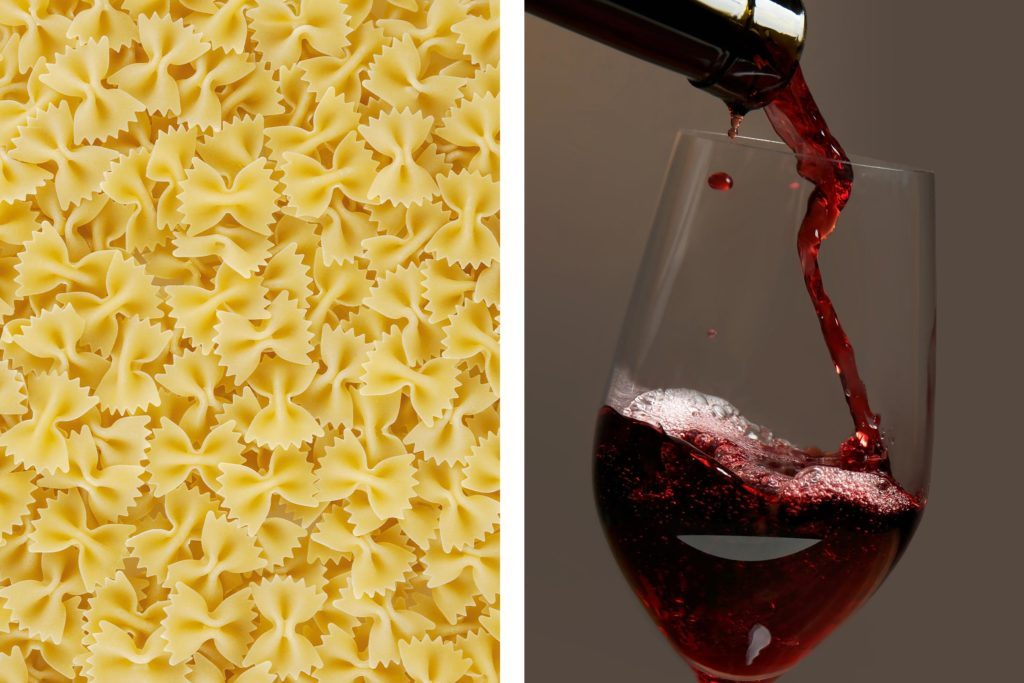 pasta red wine glass bowtie