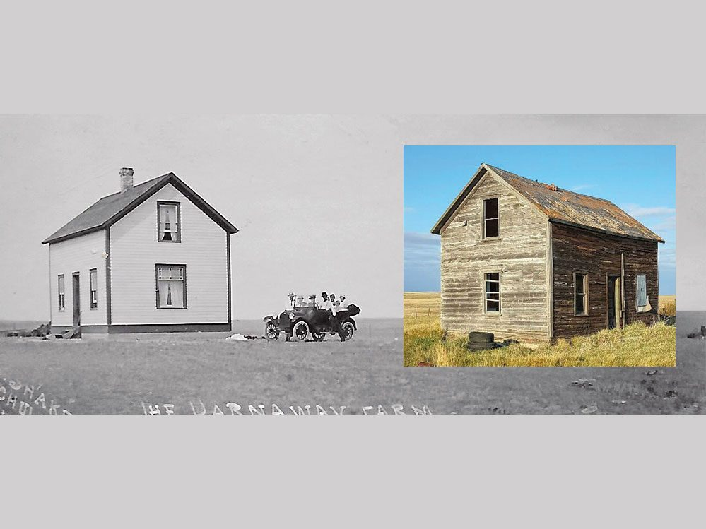 Prairie homestead then and now