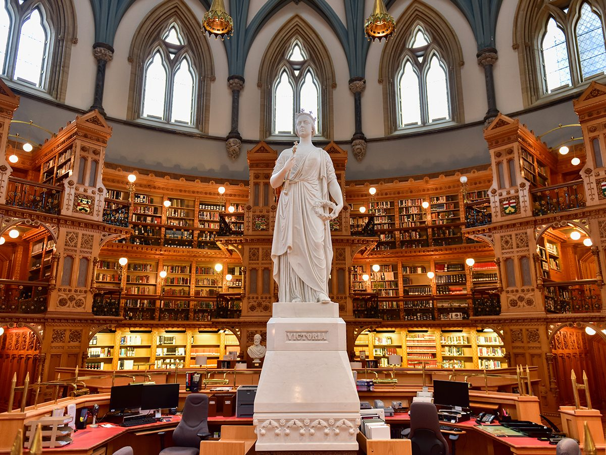 Queen Victoria statue in the Library of Parliament Reading Room, Ottawa