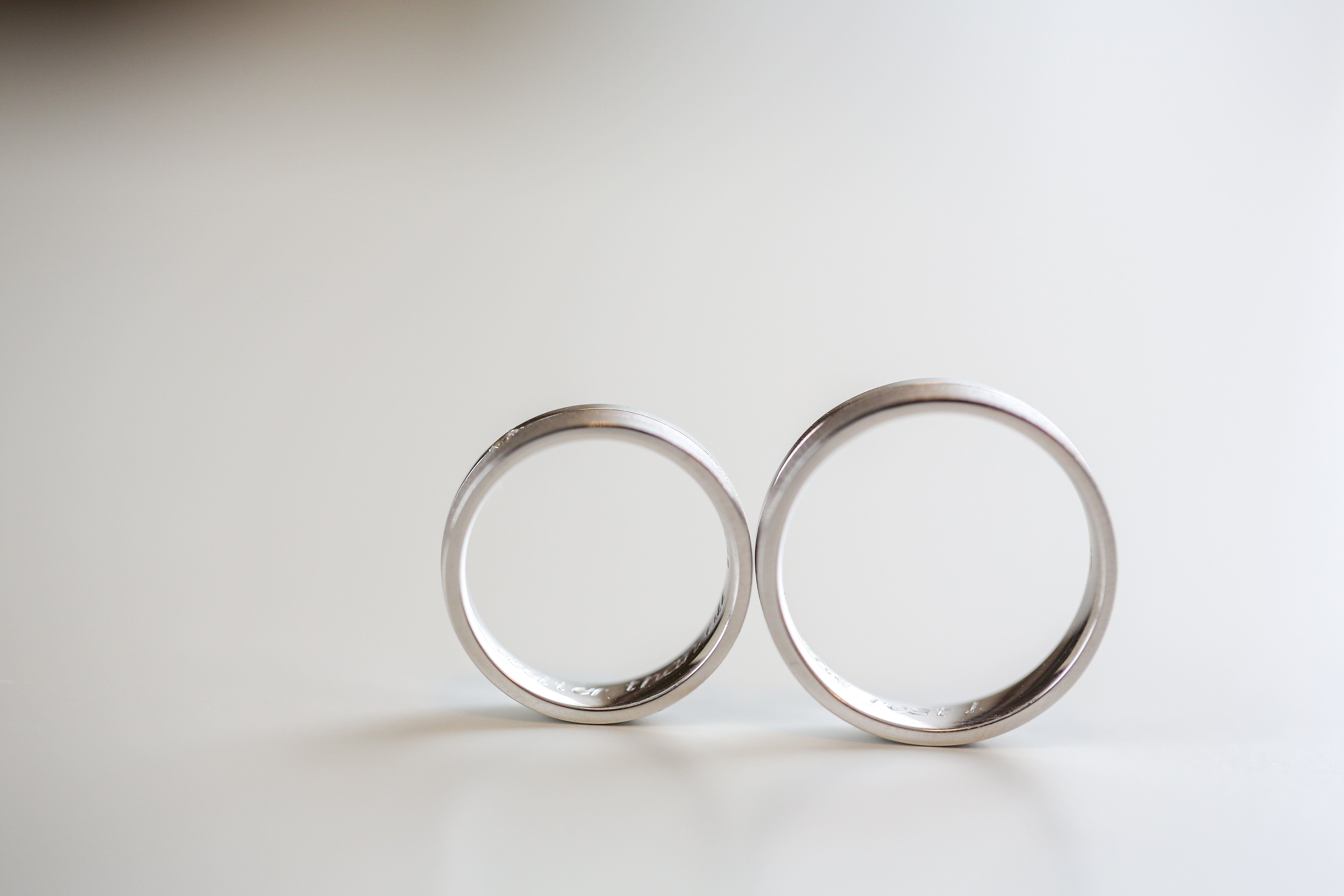 Wedding rings on isolated background