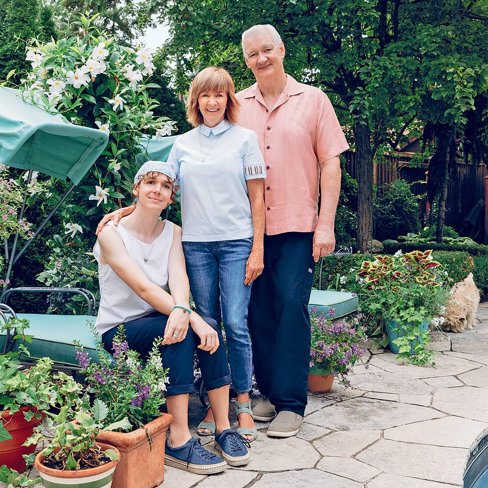 Author Debra McGrath at home in Toronto with her husband, Colin Mochrie, and their daughter, Kinley