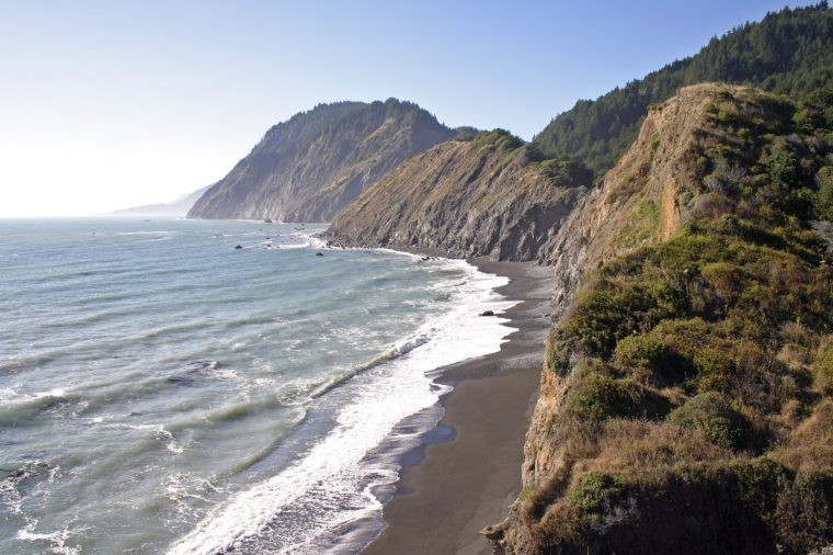 A panoramic shot of the Lost Coast trail in California.
