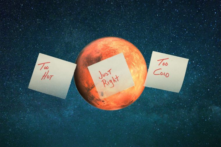 Composite of Mars and sticky notes