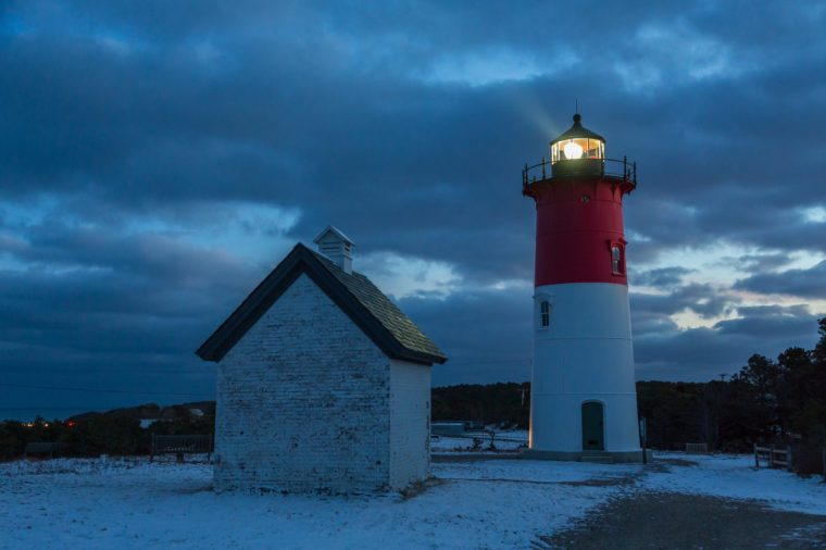 Nauset lighthouse at night on Cape cod