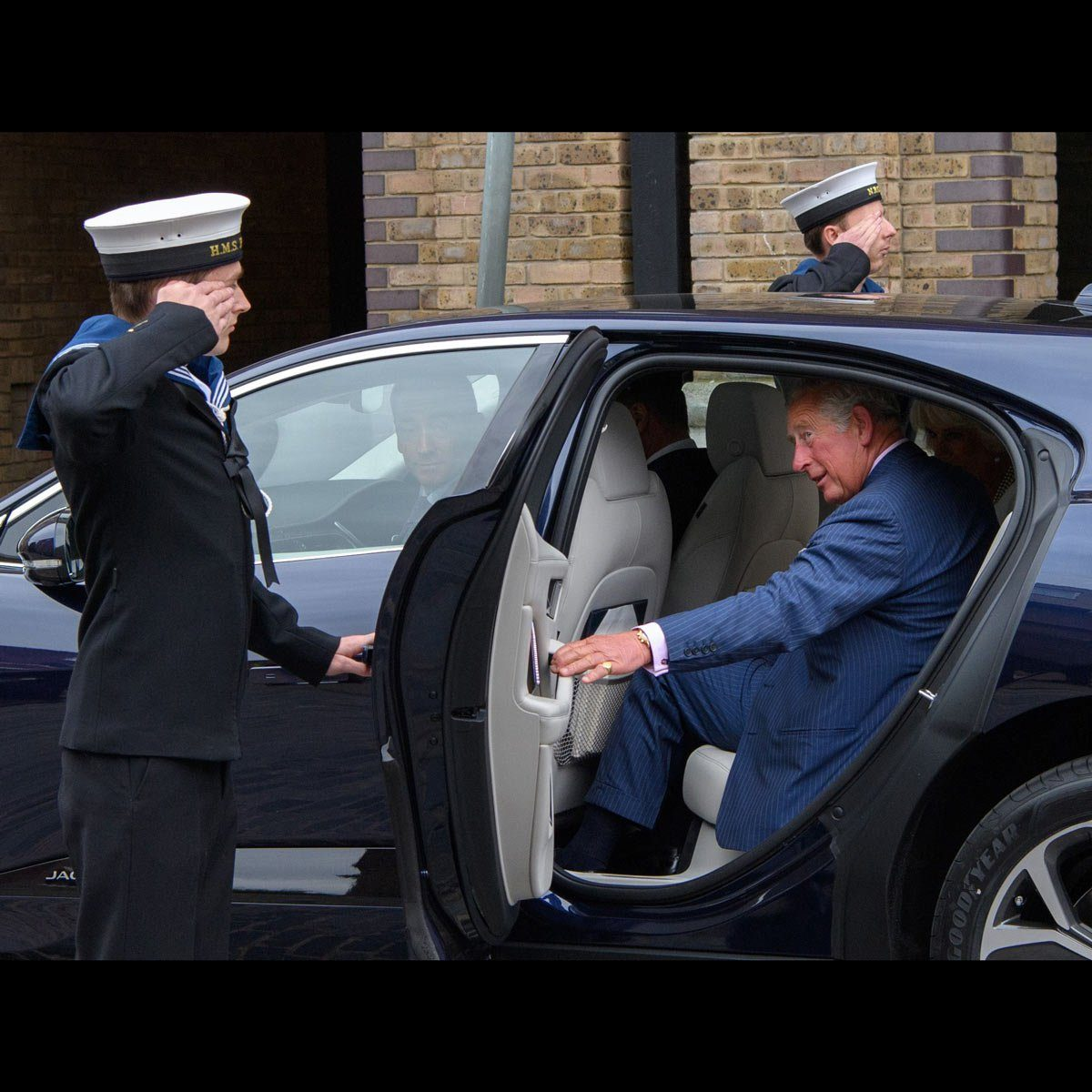 Prince Charles with his new Electric Jaguar I pace