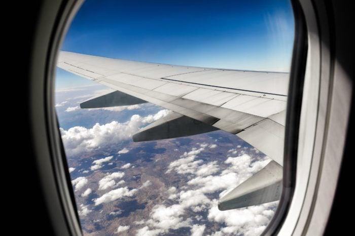 Airplane window. Bird's-eye.Traveling.