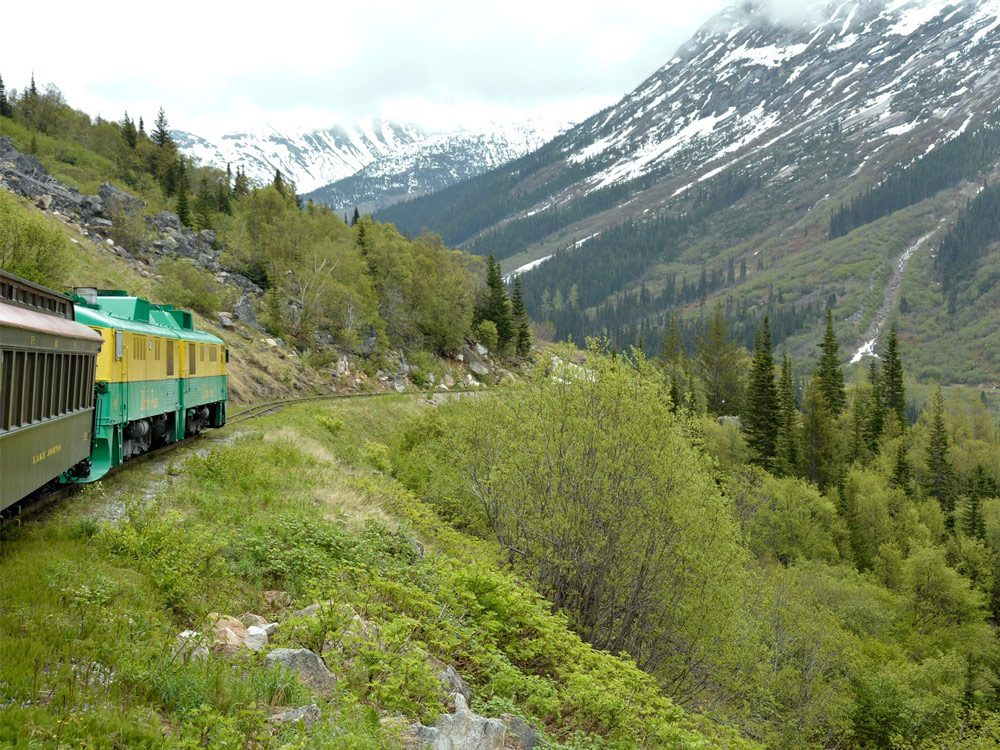Train heading towards Skagway, Alaska
