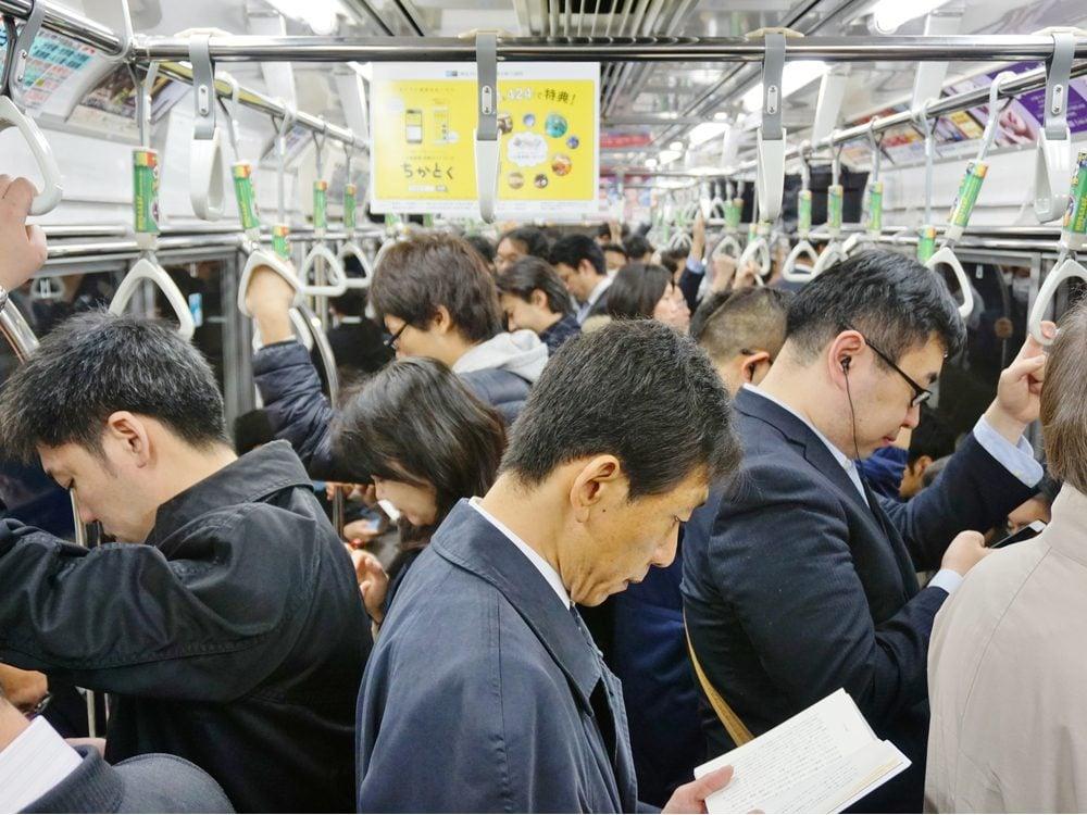 Subway train ride in Japan