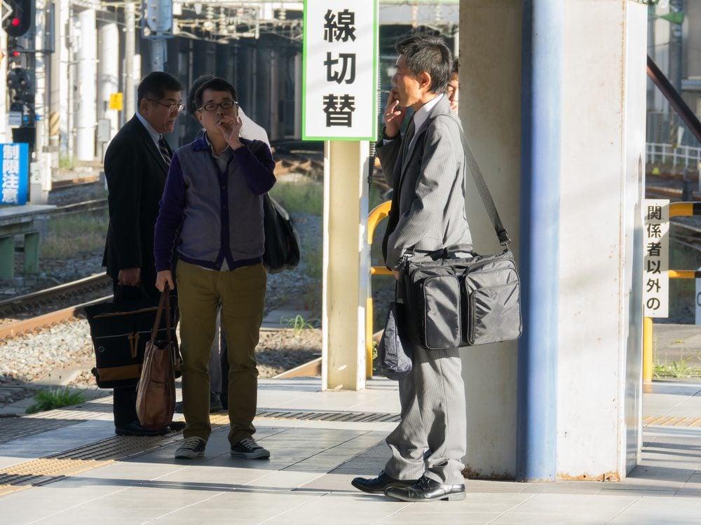 Japanese men smoking