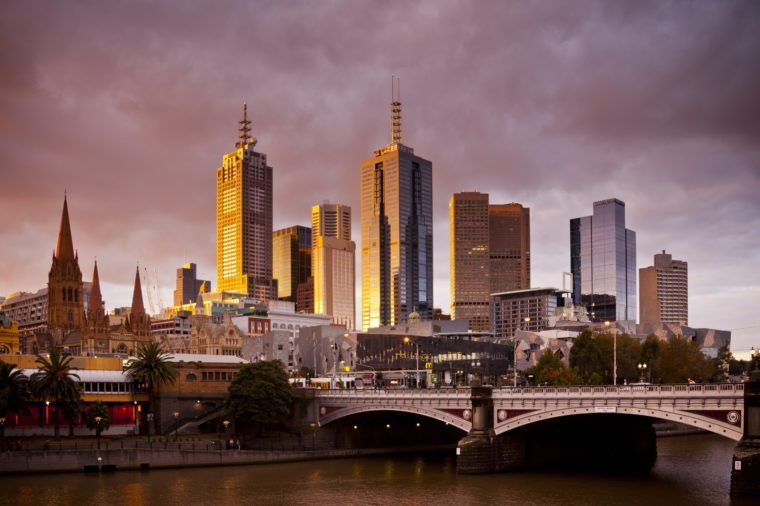 The city centre of Melbourne, Victoria, Australia.