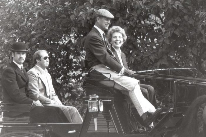 Nancy Reagan Wife Of Ronald Reagan And Prince Philip Riding In Windsor's Home Park With Escort Of Security Men 1982