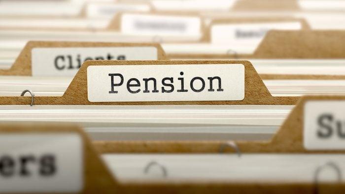 Pension Concept. Word on Folder Register of Card Index. Selective Focus.