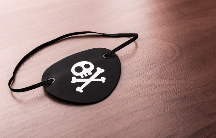 Pirate eyepatch on the table