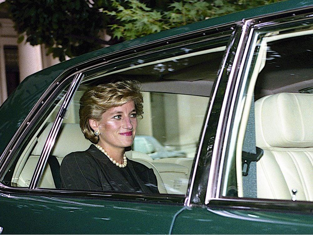 Princess Diana in a car in 1996