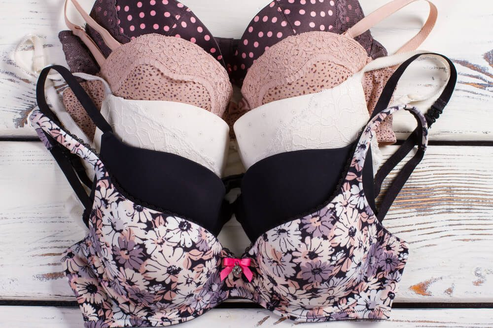 Items You Don't Wash Enough - Women's bras close-up. Many different beautiful sexy bras.Sexy lingerie.