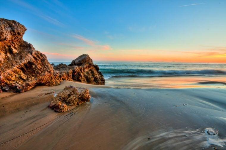 california beach in sunset