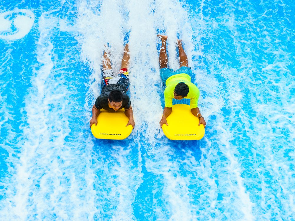 Surfing wave at water park