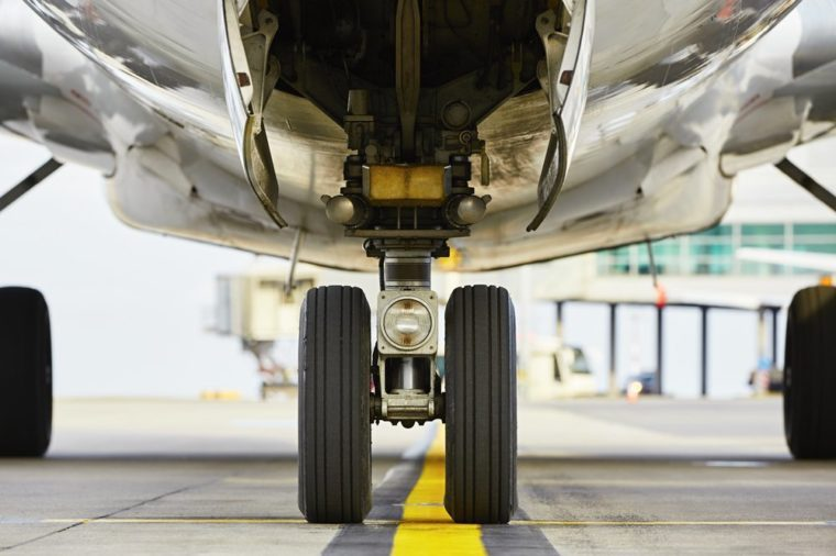 Airport - nose wheel of the aircraft