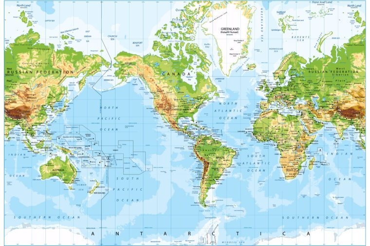 Physical World Map America Centered and Bathymetry. Highly detailed vector illustration.